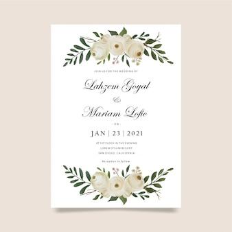 水彩ローズと結婚式の招待状のテンプレート