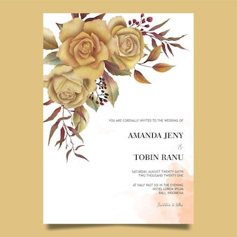 Wedding invitation template with watercolor roses