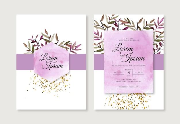 水彩スプラッシュと葉の結婚式の招待状のテンプレート