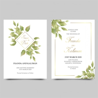 Wedding invitation template with watercolor style green leaf decoration