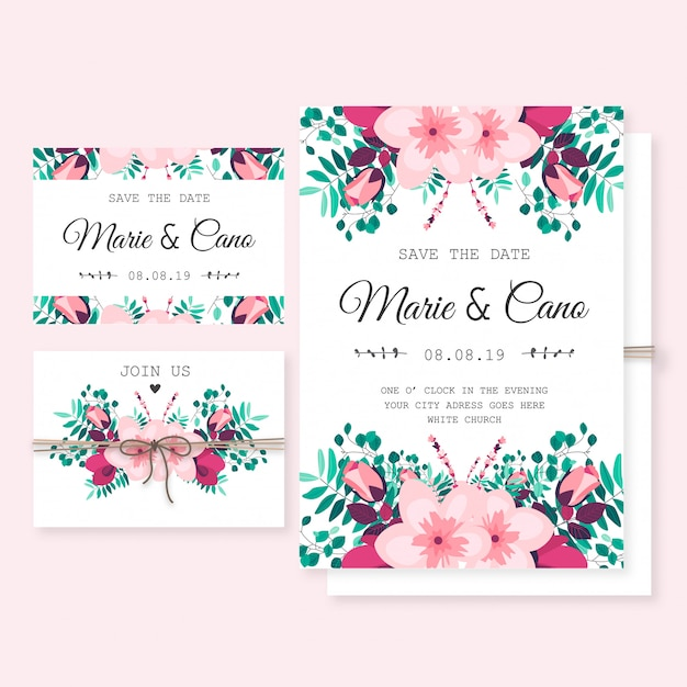 Free Wedding Invitation Template with Wild Flowers SVG DXF EPS PNG