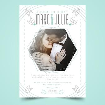 Шаблон свадебного приглашения с мужчиной и женщиной