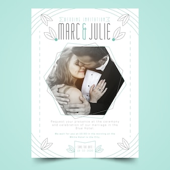 Wedding invitation template with woman and man