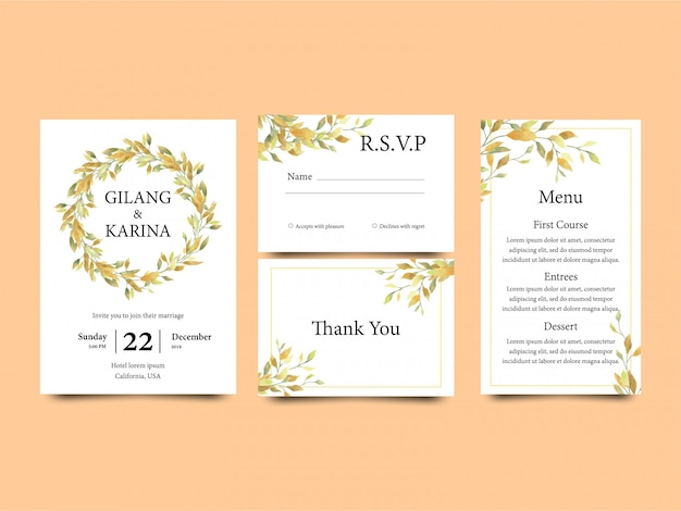 Wedding invitation template with yellow watercolor style leaf along with a menu template and rsvp card