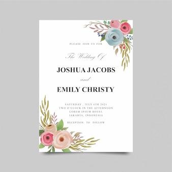 カラフルな水彩バラの花の結婚式の招待状のテンプレート