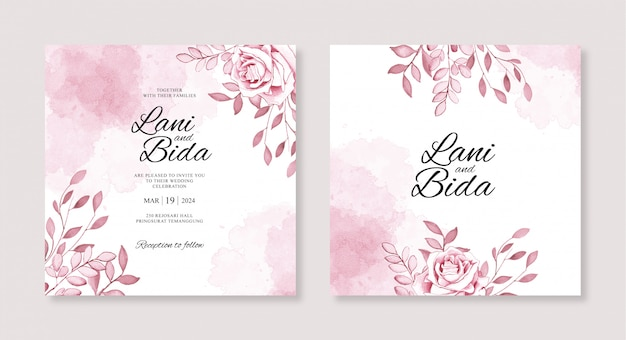 水彩花と水しぶきの結婚式の招待状のテンプレート