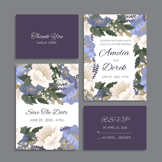 Wedding invitation, thank you card, save the date cards.