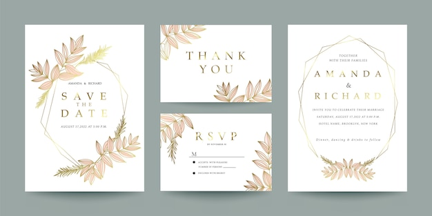 Wedding invitation, thank you and rsvp card template set