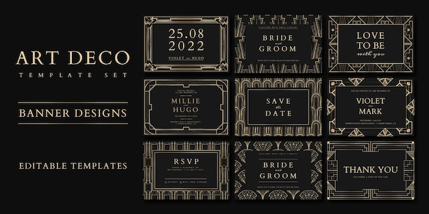 Wedding invitation vector set template for social media banner with art deco patterns