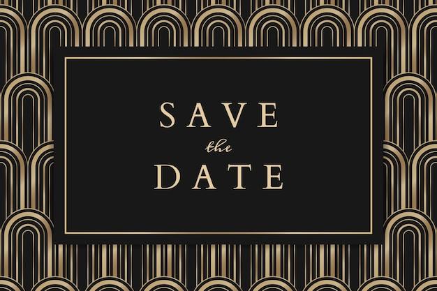 Векторный шаблон свадебного приглашения для баннера в социальных сетях с узором в стиле ар-деко