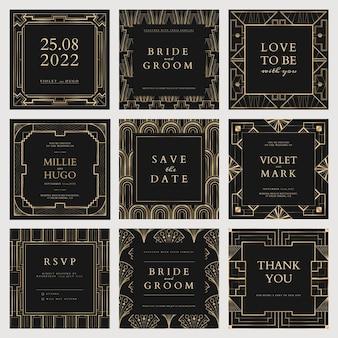 幾何学的なアールデコスタイルのソーシャルメディアの投稿のための結婚式の招待状のベクトルテンプレート
