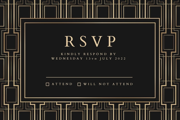 Wedding invitation vector template for social media banner with art deco pattern