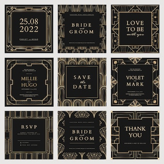 Wedding invitation vector template for social media post with geometric art deco style