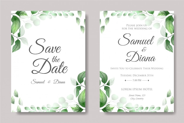 Wedding invitation vector with beautiful leaves
