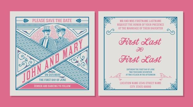 結婚式招待状。花飾りのあるヴィンテージスタイル