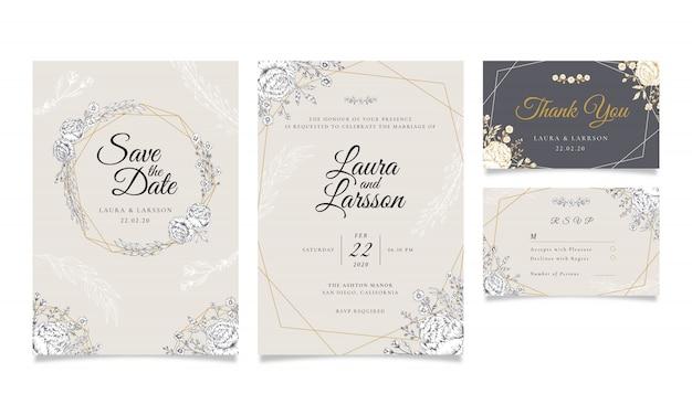 Винтажное свадебное приглашение с контурными цветами