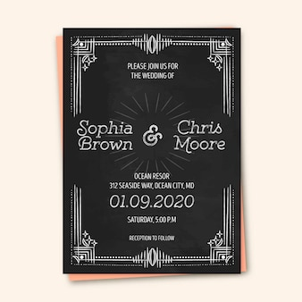 Wedding invitation vintage template
