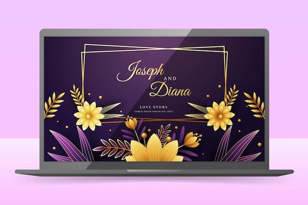 ノートパソコンの画面上の結婚式の招待状の壁紙