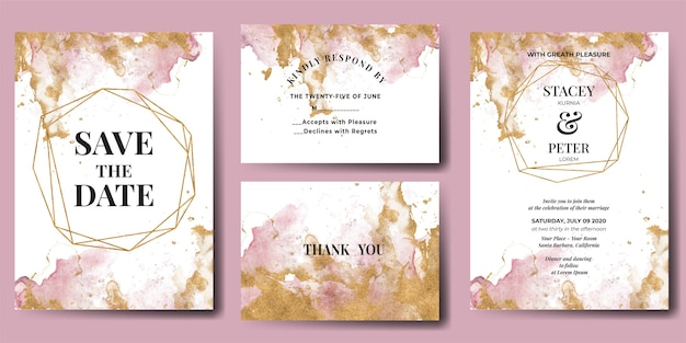 Wedding invitation watercolor abstract glitter gold