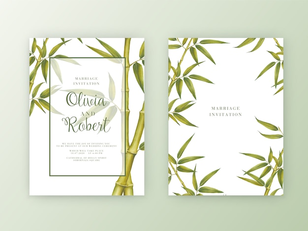 結婚式招待状。竹の水彩画ボタニカルイラスト。