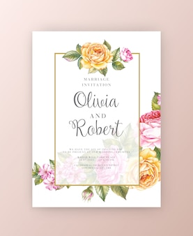 結婚式招待状。バラの水彩画ボタニカルイラスト。