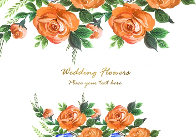 Wedding invitation watercolor decorative flowers card background