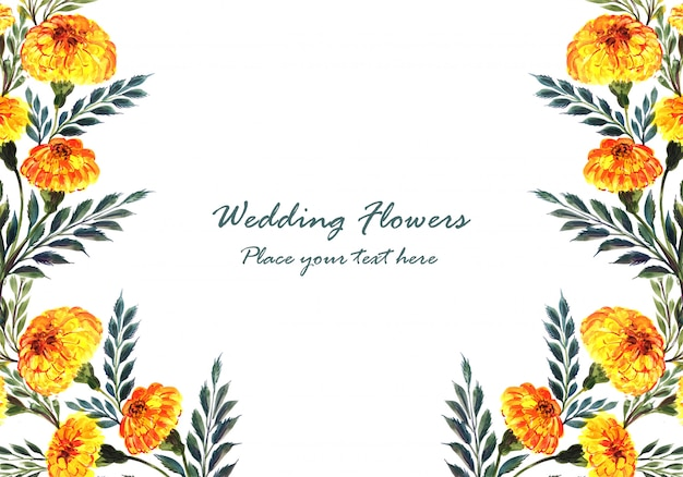 Wedding invitation watercolor decorative flowers card template
