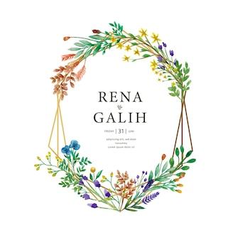 Wedding invitation watercolor floral frame spring
