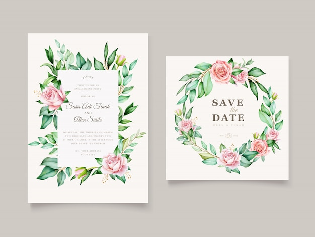 Wedding invitation watercolor floral and leaves card template