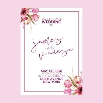 Wedding Invitation Watercolor Floral