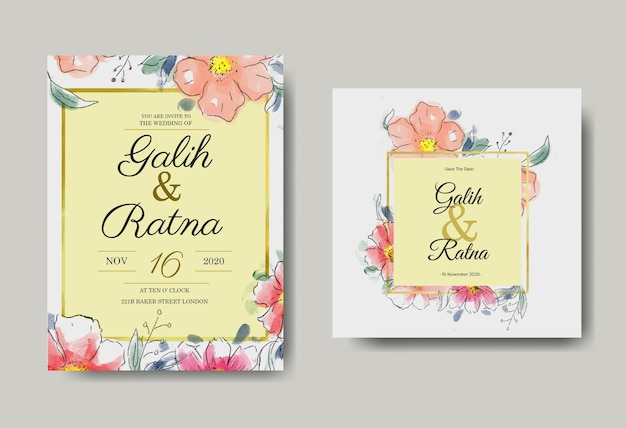 Свадебные приглашения акварель цветочные