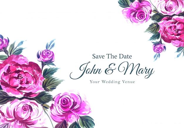 Carta di fiori dell'acquerello dell'invito di nozze