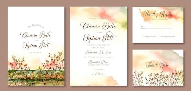 Свадебные приглашения акварель пейзаж абстрактного фона и сушеные ветви деревьев