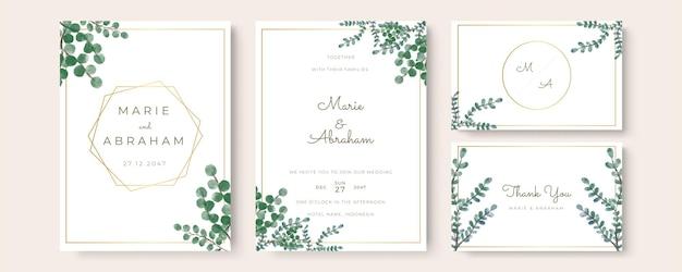 結婚式の招待状水彩モダンスタイルありがとうございます、日付を保存します。花柄の緑の水彩画の葉、葉の緑の装飾的なフレームプリント。