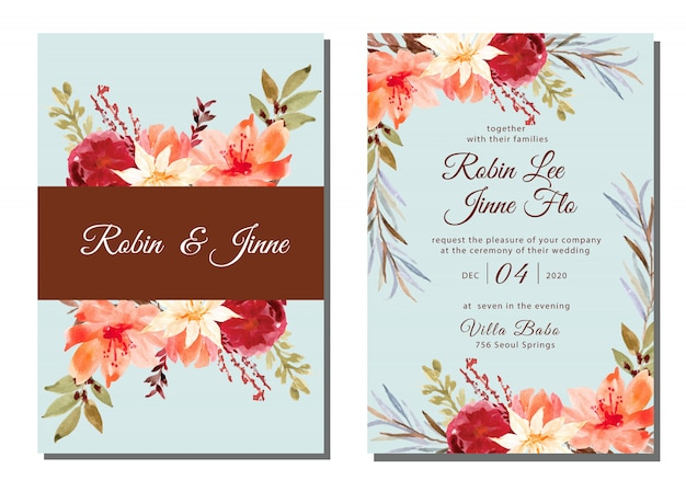 Wedding invitation watercolor with classic flower watercolor