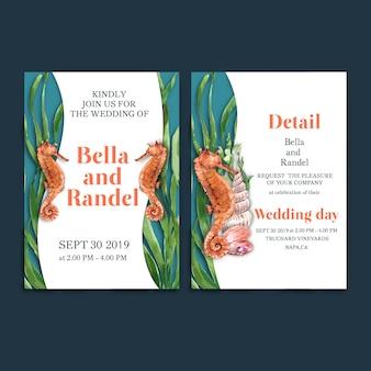 Акварель приглашения свадьбы с морским коньком с концепцией водоросли для карточки украшения.