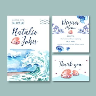 Wedding invitation watercolor with wave concept, creative watercolor illustration.