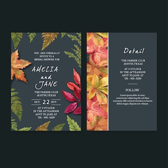 Wedding invitation watercolour with autumn theme