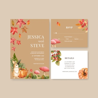 Wedding invitation watercolour with beautiful autumn theme