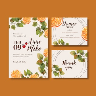 Wedding invitation watercolour with beautiful bright orangy tones