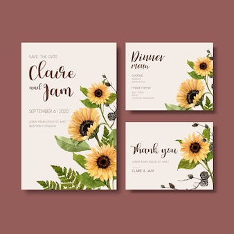 Wedding invitation watercolour with beautiful sunflower