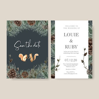 Wedding invitation watercolour with dark background with wild animal detailed