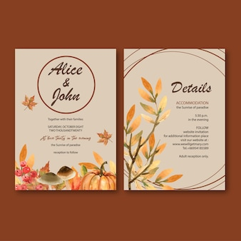 Wedding invitation watercolour with gentle autumn theme