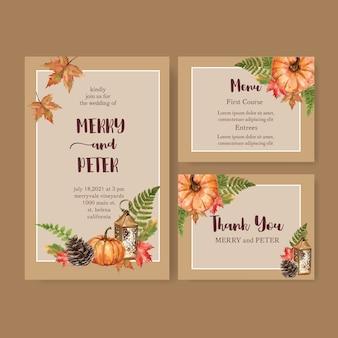 Wedding invitation watercolour with orange theme