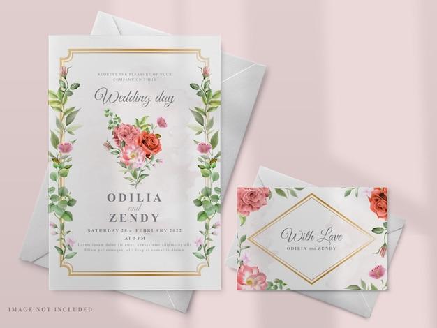Приглашение на свадьбу с изображением красных роз