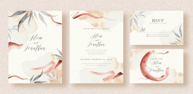 Wedding invitation with abstract brushes watercolor