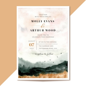 Свадебное приглашение с абстрактным пейзажным акварельным фоном