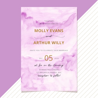 Wedding invitation with abstract purple watercolor background