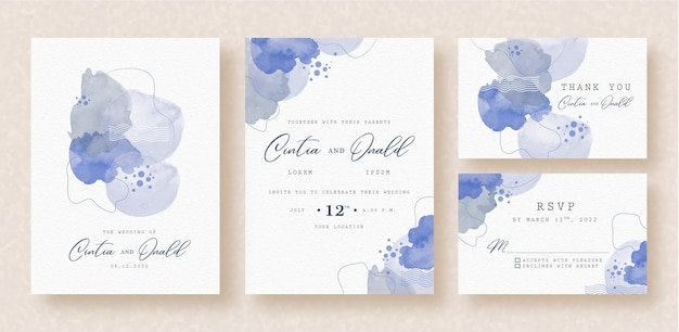 Wedding invitation with abstract shapes and florals watercolor background