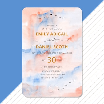 Wedding invitation with abstract sky watercolor background